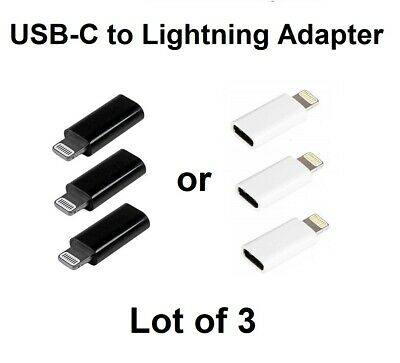 LOT of 3     USB-C (Female) to Lightning (male) Adapter for iPhone iPad iPod