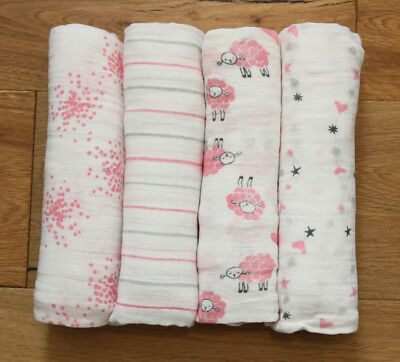 """Aden Anais Baby Girl Swaddle Blanket ~ White, Pink & Gray ~ Pick 1 ~ 47"""" x 47"""""""