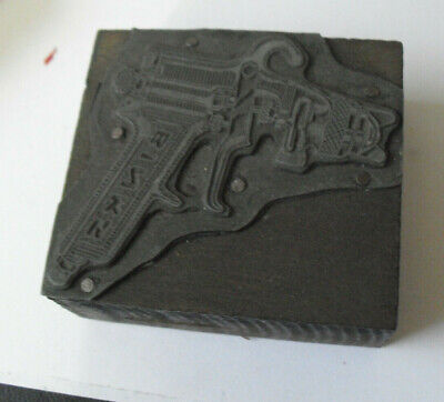 Vintage Binks Spray Gun Wood Metal Letterpress Print Block Stamp
