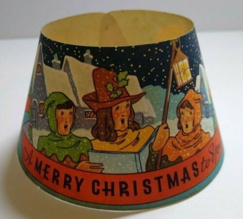 Vintage 1940s Milk Bottle Collar Merry Christmas Carolers Art Original Wolf