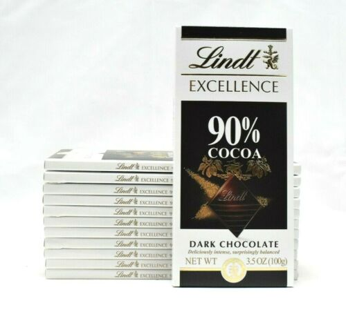 Lindt Excellence 90% Cocoa Bar, Supreme Dark 3.5 oz., Pack of Twelve