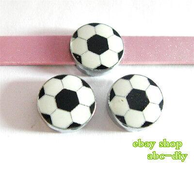 5pcs 8mm football DIY Slide Charm Fit Wristband/Pet Name Collar/strips -