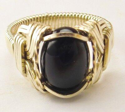 Black Onyx Ring 14k Gold gf Mens Ladies Handmade