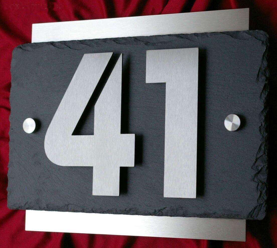 3D Edelstahl Hausnummer + Schiefer Hausnummernschild V2A Zahlen Schieferplatte