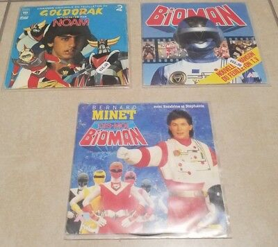 Lot de 3 vinyls 45 tours - Goldorak - Bioman (2)