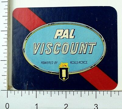 C  1950S Philippine Airlines Pal Viscount Rolls Royce Vintage Luggage Label E7