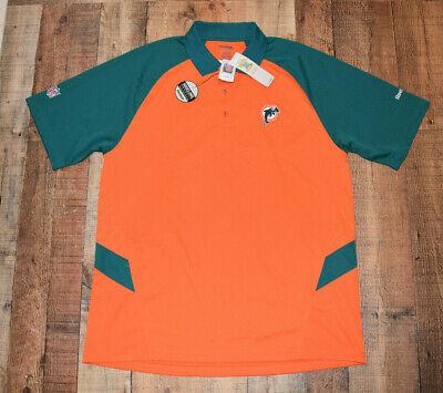 NWT Miami Dolphins REEBOK Play Dri (Dri Fit Style) S/S Polo Shirt Men's XL (Men's Miami Fashion)