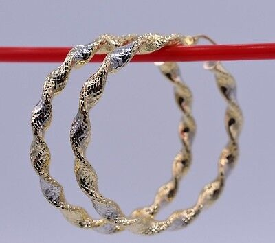"""2"""" Twisted Diamond Cut Textured Round Hoop Earrings Real 14K Yellow White Gold"""