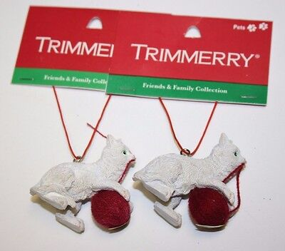 Trimmerry Christmas Tree Ornament Set of 2 Playing Cats White