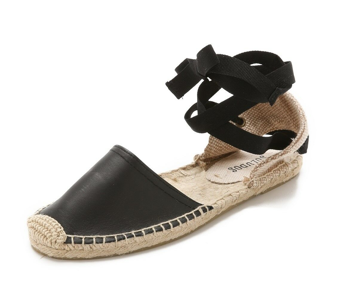 SOLUDOS Womens Brown Leather Espadrille Sandals Sz 5-10