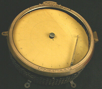 Antique Brass Tycos Data Recording Thermometer Taylor Instruments Co Wind Up