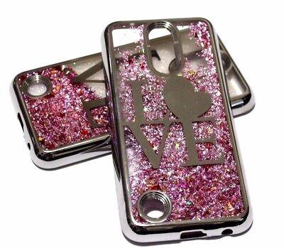 For Lg V5   K20 Plus   Silver Trim Love Heart Pink Glitter Sparkle Liquid Case