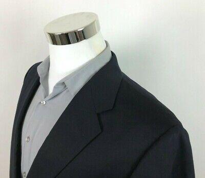 Hickey Freeman Wool Sport Coat Navy Blue 2 Button Blazer Dual Vent Mens 44 XL