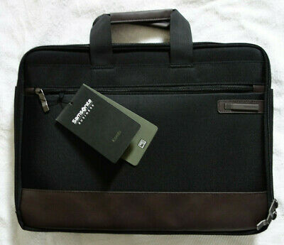 Samsonite Business Kombi Slimbrief Briefcase Laptop Carry Travel Bag Black Brown