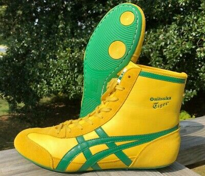 RARE Onitsuka Tiger 81 Wrestling Shoes Size 9 Yellow Green Leather ASICS