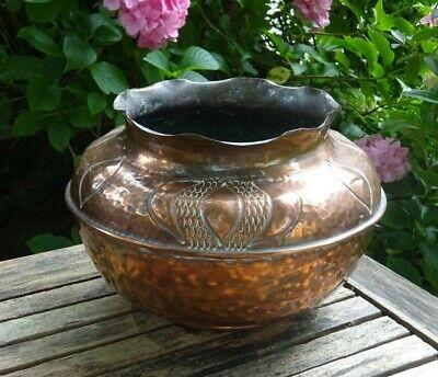Victorian copper jardiniere, Arts & Crafts beaten copper planter, gardenalia