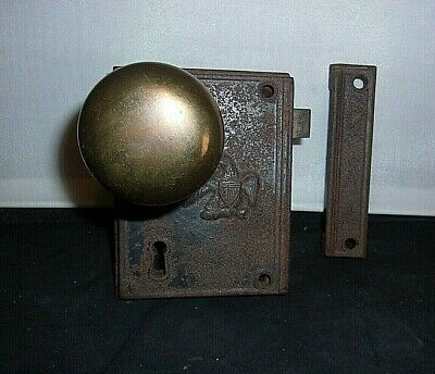 ANTIQUE HARDWARE H. S. & Co Door Box Lock Set Cast Iron, EAGLE ON FRONT