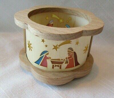 Erzgebirge Wooden Nativity Tea Light Candle Holder Germany Small Bent Wood Xmas
