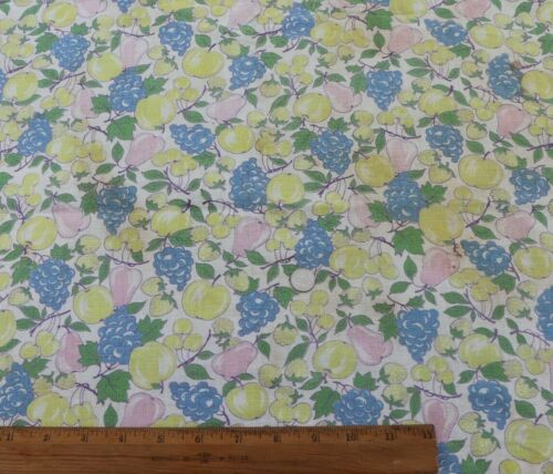 "Rare Vintage Fruit Printed Cotton Feedsack Fabric~L-16"" X W-36"""