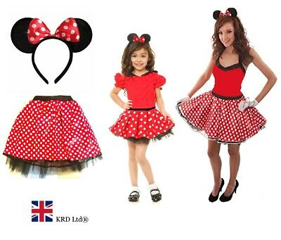 RED BOW MOUSE TUTU COSTUME Kids Teens Fancy Dress Halloween Accessory Set UK (Red Tutu Halloween Kostüm)