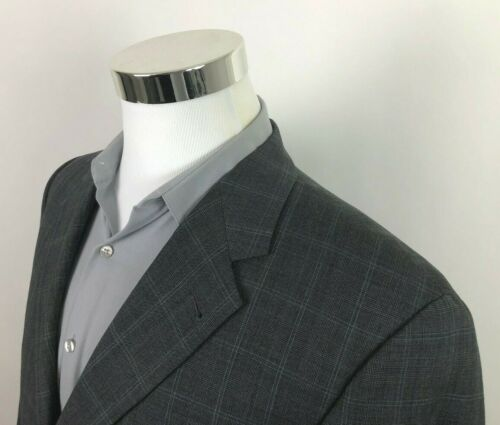 Joseph Abboud Gray Blue Plaid Windowpane Dual Vent Sport Coat Blazer Mens 40R