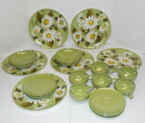 Vintage OD Oneida Daisy Flower Plates Bowls Cups Lot Avocado Green Plastic  29pc