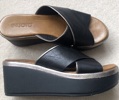 Inuovo Black Wedge Sandals Size 4 Eur 37