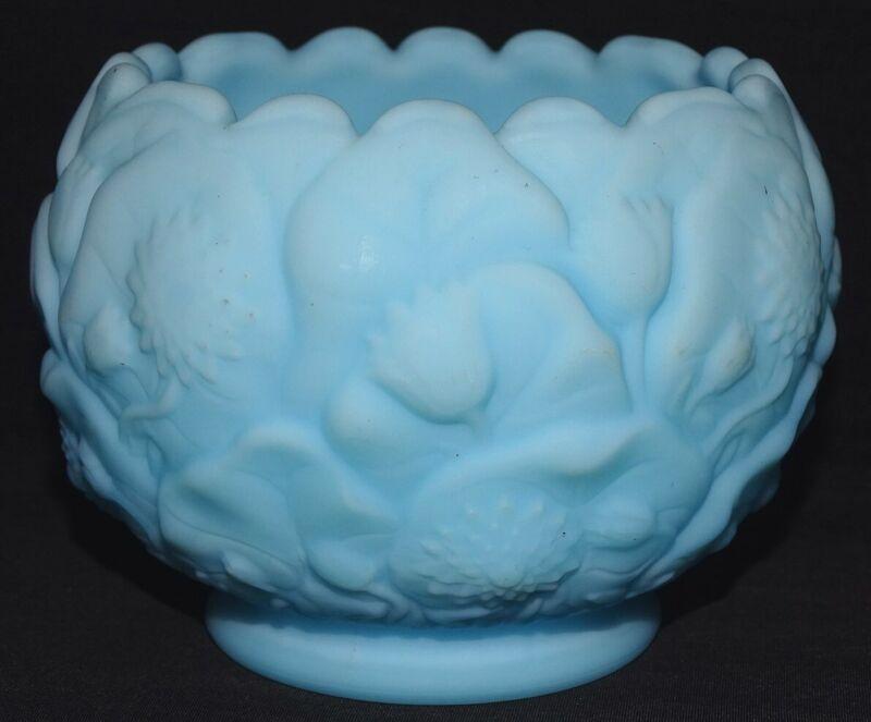 "Fenton USA Satin Blue Water Lily Bowl 4 3/4"""