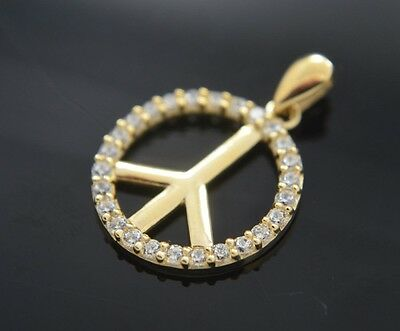 Peace Sign Stone Charm 14k Yellow Gold Pendant & Chain Love Medalla Paz Oro Real Yellow Gold Peace Sign