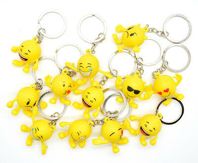12 pcs Emoji Key Chain Cute Emoticon 5 Designs