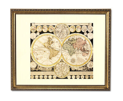 Old World Map With Zodiac Vintage Style Wall Picture Gold Framed Art Print - Old World Style Wall