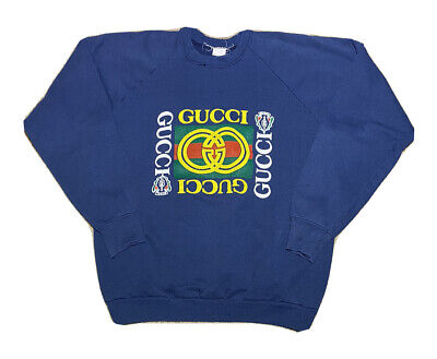Vintage 1990s Bootleg Gucci Spell Out Puffy Graphic Raglan Sweatshirt Size XL