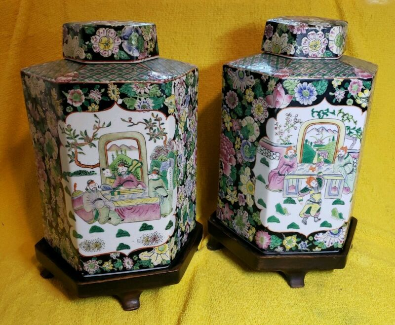 pair of antique lidded chinese jars / large Tea caddies Daoguang 12""