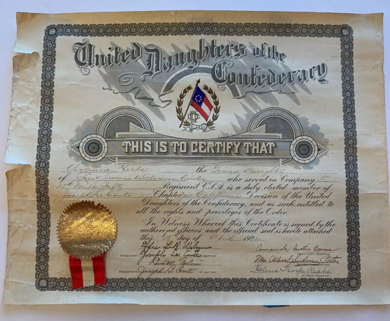 Historical1932 United daughters of the Confederacy certification Chapter 951 CA.