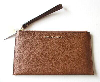 NEW Michael Kors Jet Set Large Zip Clutch Wristlet Bag Luggage Brown Leather $98