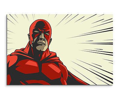 Wandbild Superheld mit roter Maske im Comic Stil auf Leinwand