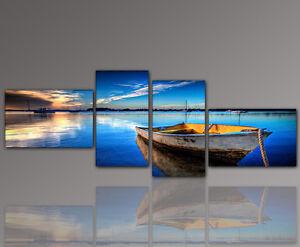 DESIGNBILDER-WANDBILD-Blau-See-Boot-Entspannung-Wohnzimmer-Kunst-155x60cm