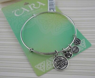 Irish Solvar Rhodium Plated Mo Anam Cara Soul Mate Bangle with Charms Ireland