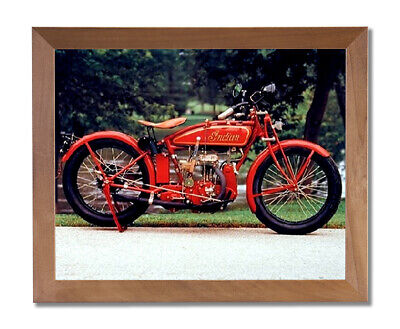 Old Red Vintage Indian Motorcycle Wall Picture Honey Framed Art Print