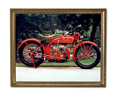 Old Red Vintage Indian Motorcycle Wall Picture Gold Framed Art Print