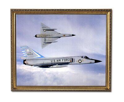 USAF F106 Fighter Jet Airplane Wall Picture Gold Framed Art Print Fighter Jet Framed