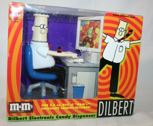 Dilbert 1998 Electronic M & M Candy Dispenser Computer Office Desk Toy, w/ Box