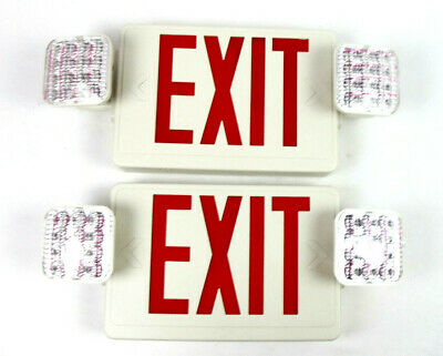 Led Emergency Exit Light Sign Hardwired Double Sided Lot Of 2 E-conolight