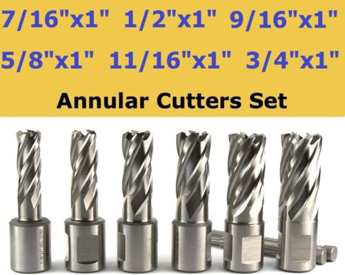 """6pcs HSS Annular Cutter Set 3/4"""" Weldon Shank Mag 7/16 1/2 9/16 5/8 11/16 3/4"""