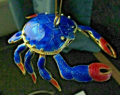 ALSAN Blue/Coral Cloisonne Enamel Articulated Crab~Highly Detailed~Gold Plated