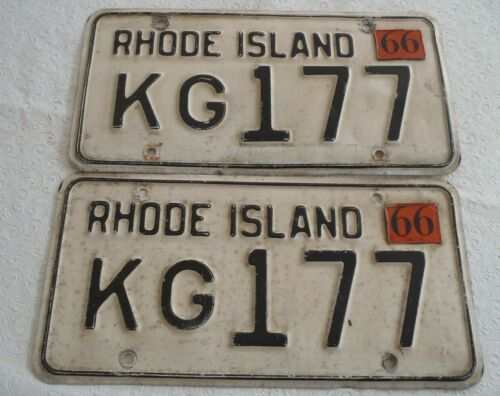 1966 Rhode Island License plate pair KG 177