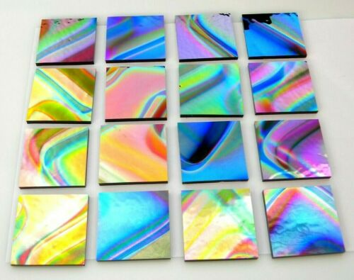 """LOT of 16 pcs (1""""X1"""") PATTERNED DICHROIC GLASS (EA6) CBS COE 90 FUSING SUPPLY"""