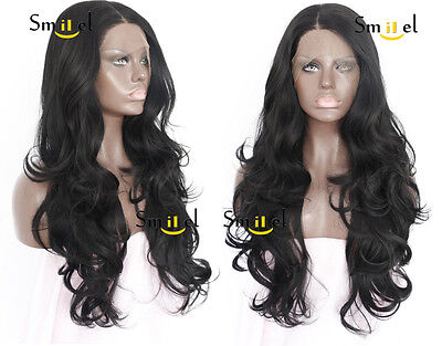 Affordable Remy Hair Synthetic Lace Front Wig Long Black Body Water Wave Wigs - Affordable Wigs