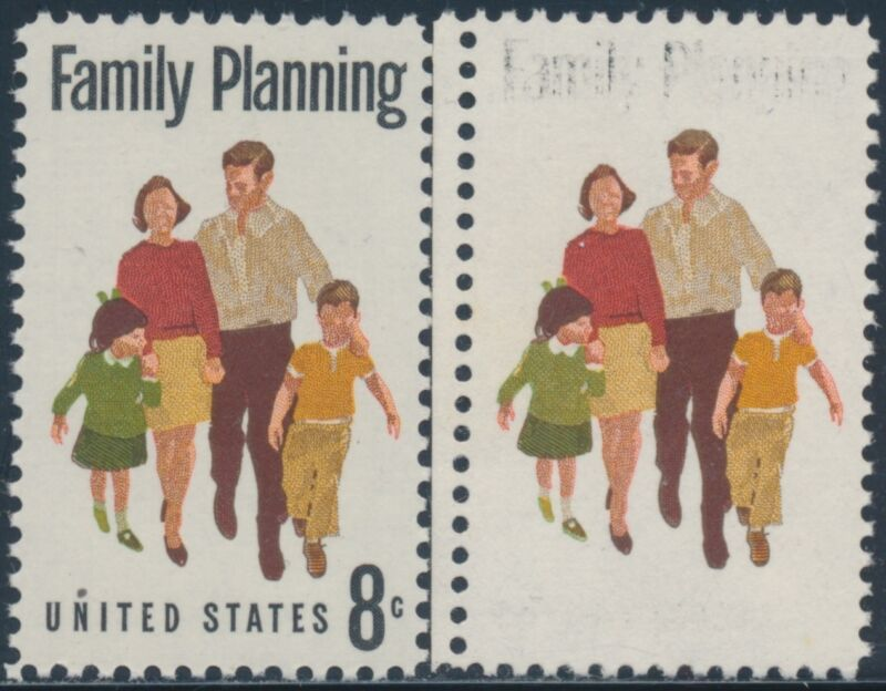 "#1455 Var. ""family Planning"" 90% Black Omitted Error Bs8946"