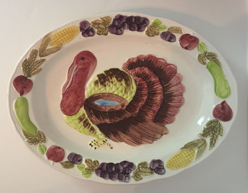 "Vintage Turkey Platter Made In Japan 18"" Long X 14"" Wide"